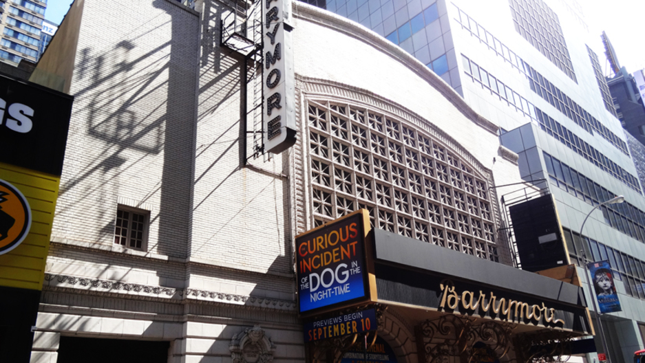 "The marquee at the Ethel Barrymore Theater in New York, where ""The Curious Incident of the Dog in the Night-Time"" is playing."