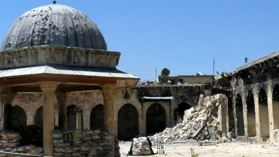 "Aleppo's Umayyad mosque in northern Syria. The 8th century structure is labelled ""in danger"" on UNESCO's list of culturally significant heritage sites."