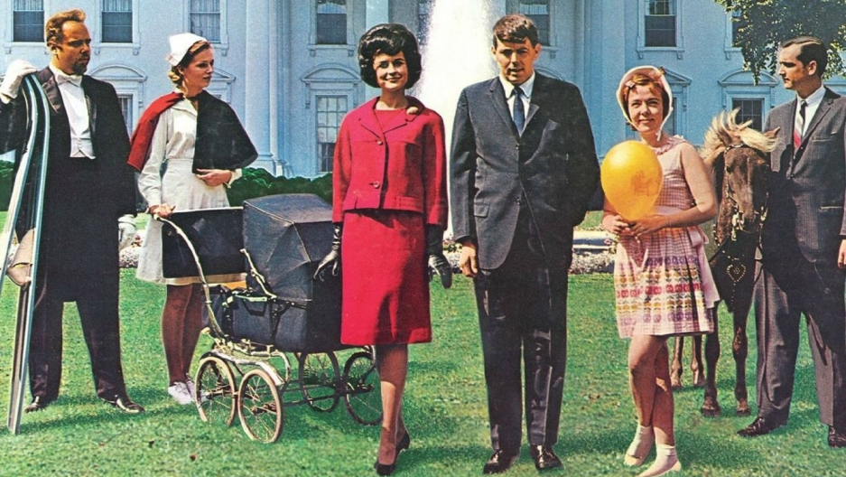 "A detail from the cover of the 1962 comedy album ""The First Family"""
