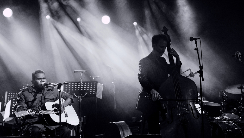 Gurrumul performs at a concert in honor of ANZAC Day in Zonnebeke, Belgium.