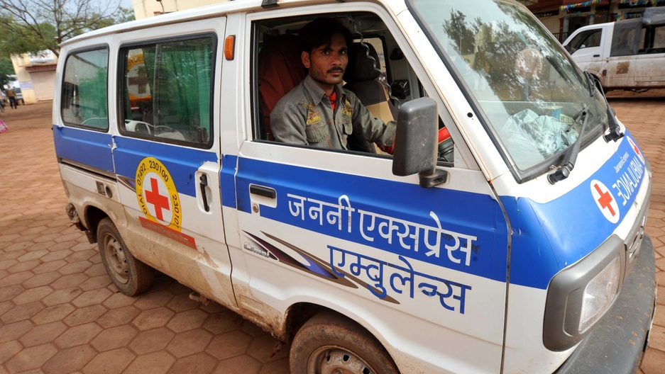 "A Janani Express ambulance. Janani means ""mother"" in Hindi, and the ambulance service transports pregnant women to health centers to give birth."
