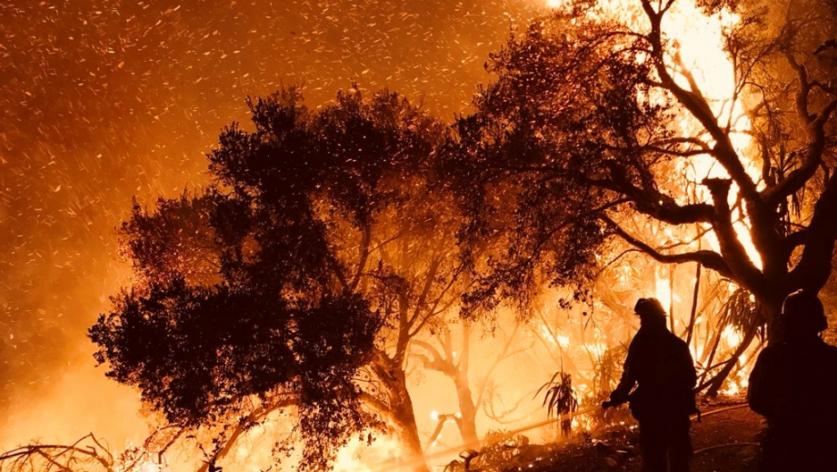 Firefighters knock down flames as they advance on homes atop Shepherd Mesa Road in Carpinteria, California, Dec. 10, 2017.
