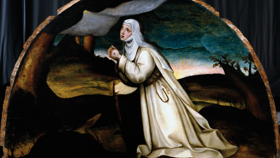 """""""Saint Catherine in Prayer,"""" by the 16th century painter Plautilla Nelli, was restored in 2008. Nelli was featured in 2017 as part of the Uffizi's new focus on women artists of the past."""