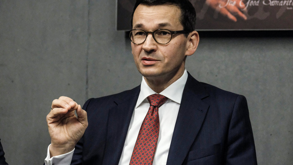 Poland's Prime Minister Mateusz Morawiecki visits the Ulma Family Museum of Poles Who Saved Jews during World War II in Markowa, Poland, February 2, 2018.