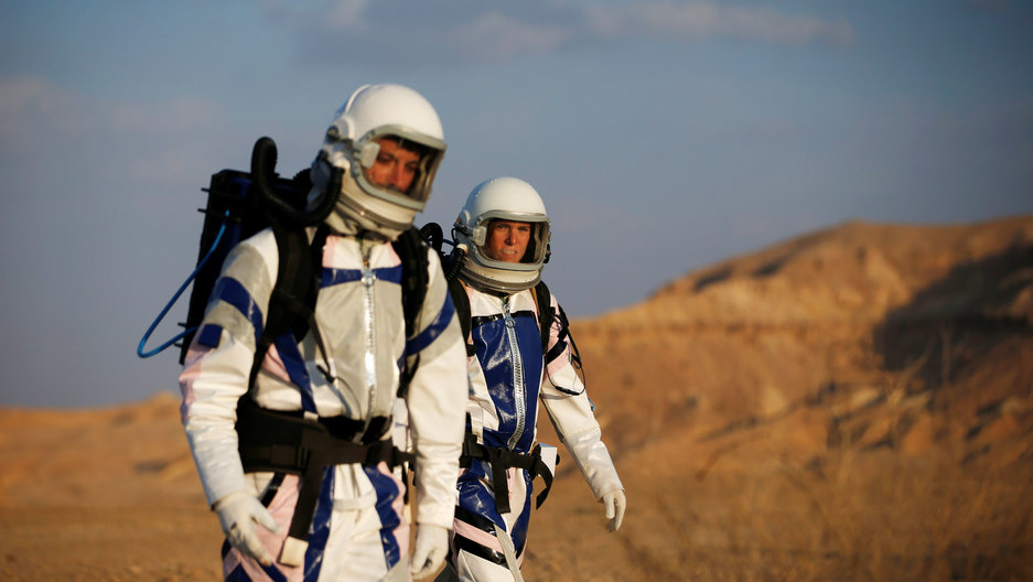 Israeli scientists participate in an experiment simulating a mission to Mars