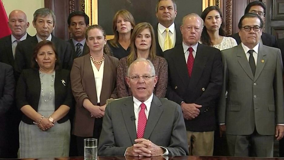 Peru's President Pedro Pablo Kuczynski is seen announcing his resignation at the Presidential Palace in Lima, Peru, March 21, 2018 in this still image from video.