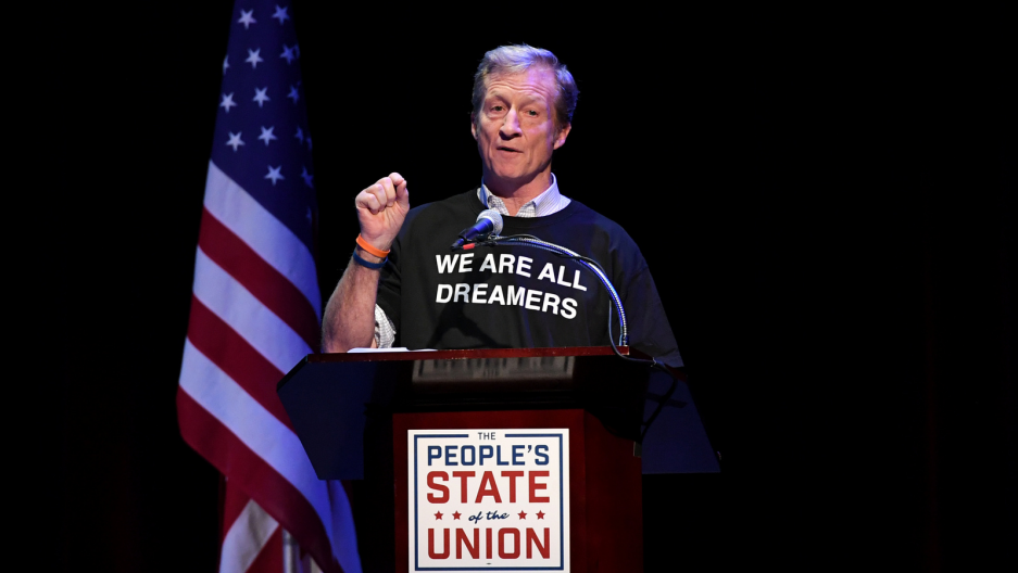 "Tom Steyer speaks during the ""People's State of the Union"" event one day ahead of President Trump's State of The Union Speech to Congress, in Manhattan, New York, Jan. 29, 2018. Darren Ornitz/Reuters"