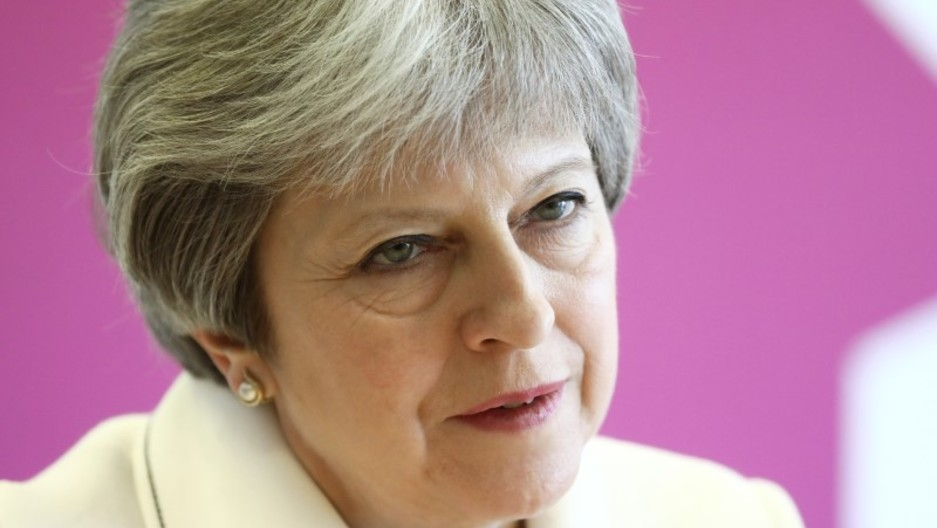 A portrait of British Prime Minister Theresa against a pink background.