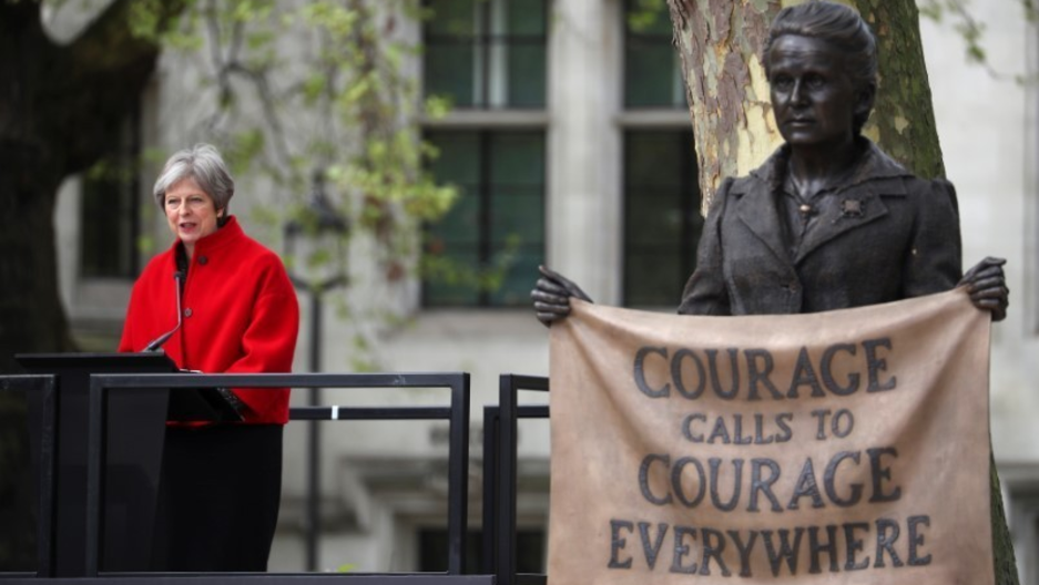 Britain's Prime Minister Theresa May speaks at the unveiling of the statue of suffragist Millicent Fawcett on Parliament Square, in London, Britain, April 24, 2018.