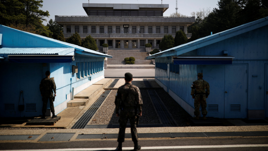 South Korean soldiers stand guard at the truce village of Panmunjom inside the demilitarized zone (DMZ) separating the two Koreas, South Korea, April 18, 2018.