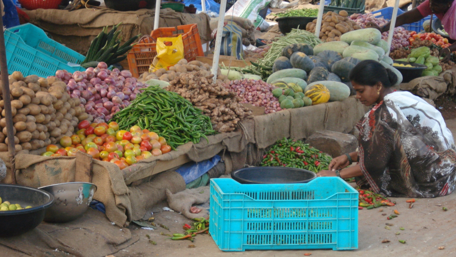 Most Kerala residents buy produce at large, open-air markets, where vegetables are typically grown using chemical fertilizers and pesticides.