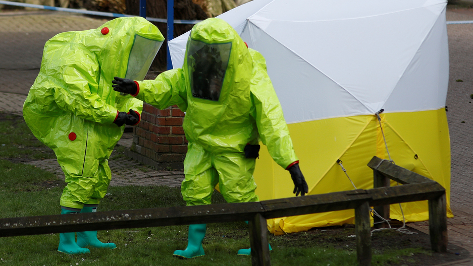 Officials working where Sergei Skripal and his daughter Yulia were found in Salisbury, Britain.