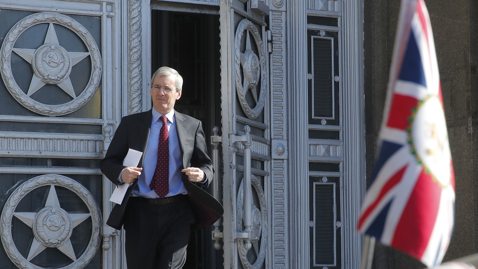 British Ambassador to Russia, Laurie Bristow, is seen walking out of the Russian foreign ministry building in Moscow.