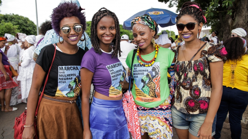 Brazilian women march at the 2015 Marcha das Mulheres Negras