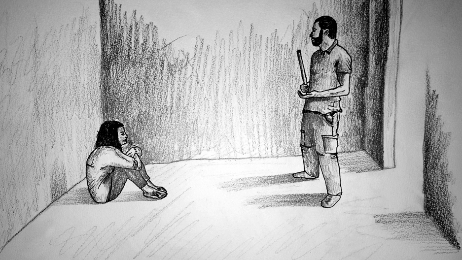 Syria torture prison drawing