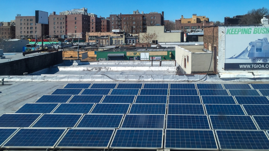 Rooftop solar panels in Queens.