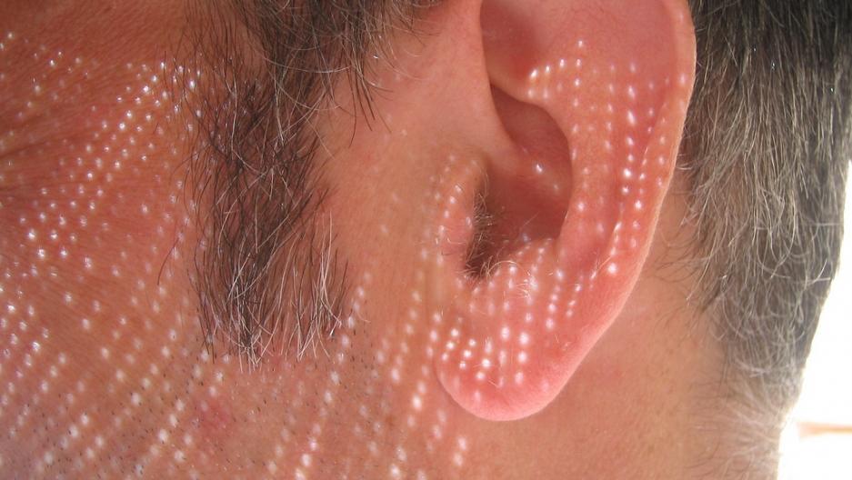 A human ear.