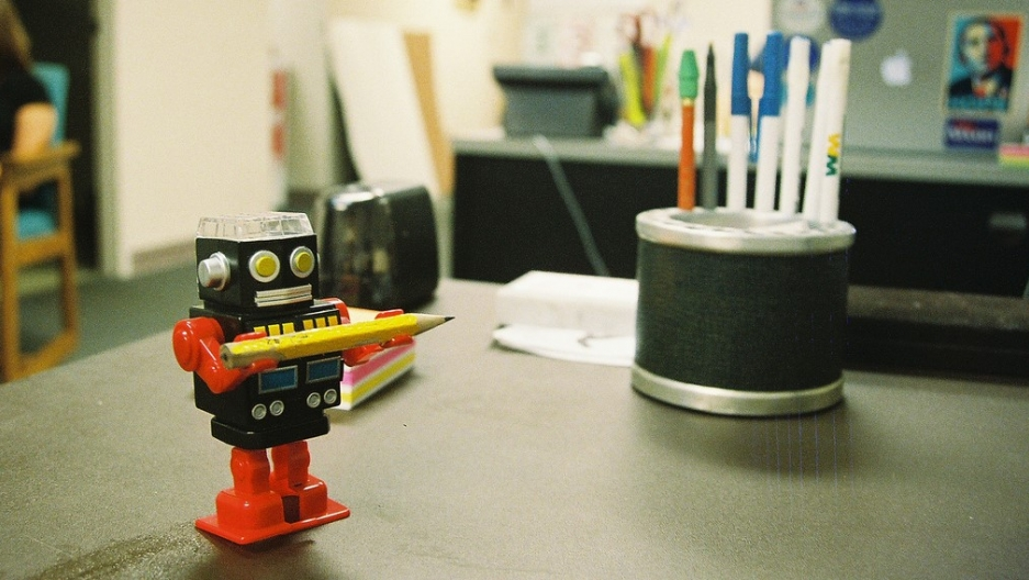 A robot helper at work.