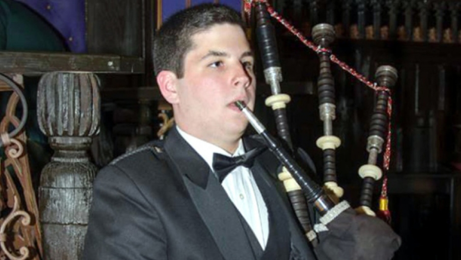18- year old Campbell Webster playing his father's bagpipes.