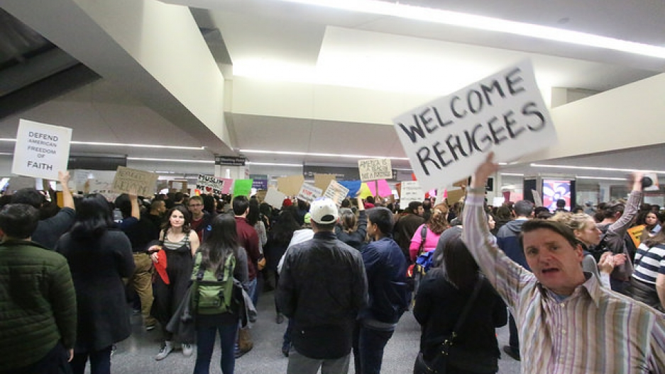 "Protestors gather at San Francisco International Airport to oppose Donald Trump's ""Muslim Ban."""