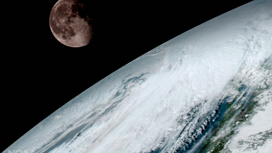 The moon over Earth, as seen from the GOES-16 satellite