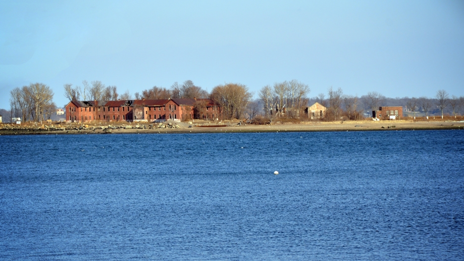 Hart Island as seen from City Island in New York borough of the Bronx in 2009.