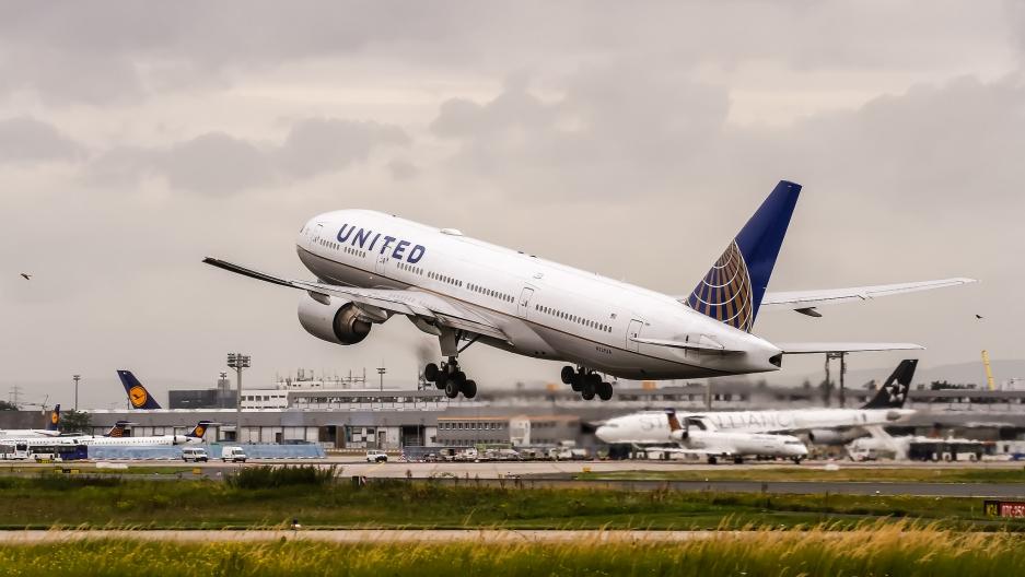 A Boeing 777 jet departing Frankfurt, Germany.