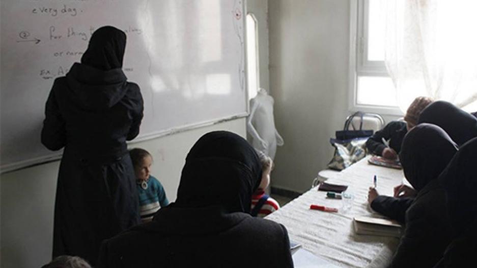 A class at a women's center in Ghouta.