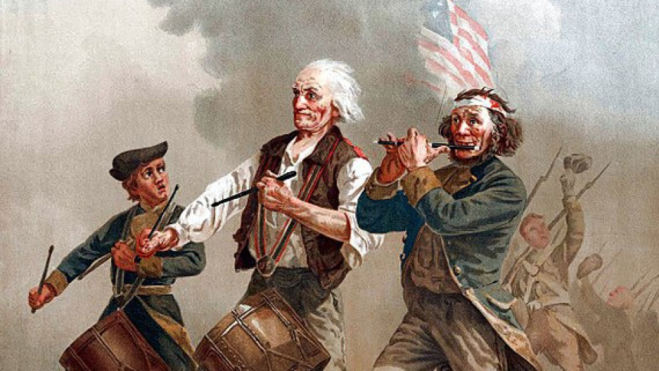 """The Spirit of '76,"" by Archibald Willard, which exemplifies the spirit of the citizen-nation in arms, with men of all ages stepping up when needed by their country, the antithesis of a professional, standing army, despised by the Founding Fathers"