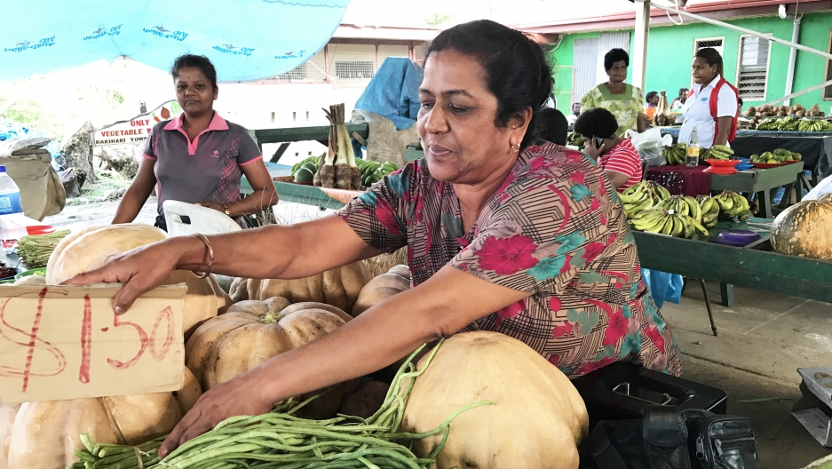 Sunila Wati at her vegetable stall in the market in Rakiraki, Fiji
