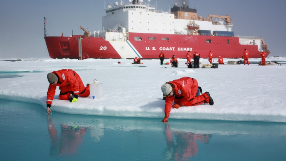 Scientists in the Arctic.