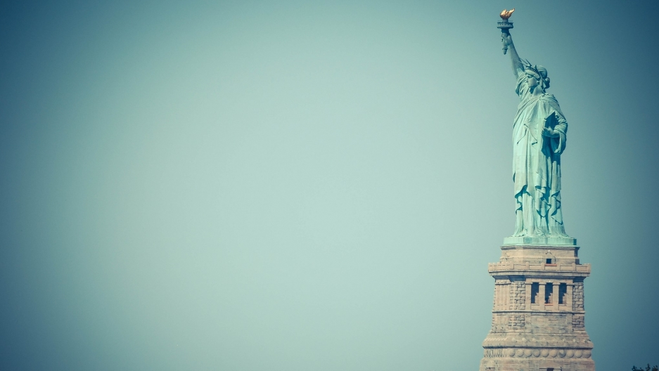 The Statue of Liberty on Liberty Island in New York Harbor.