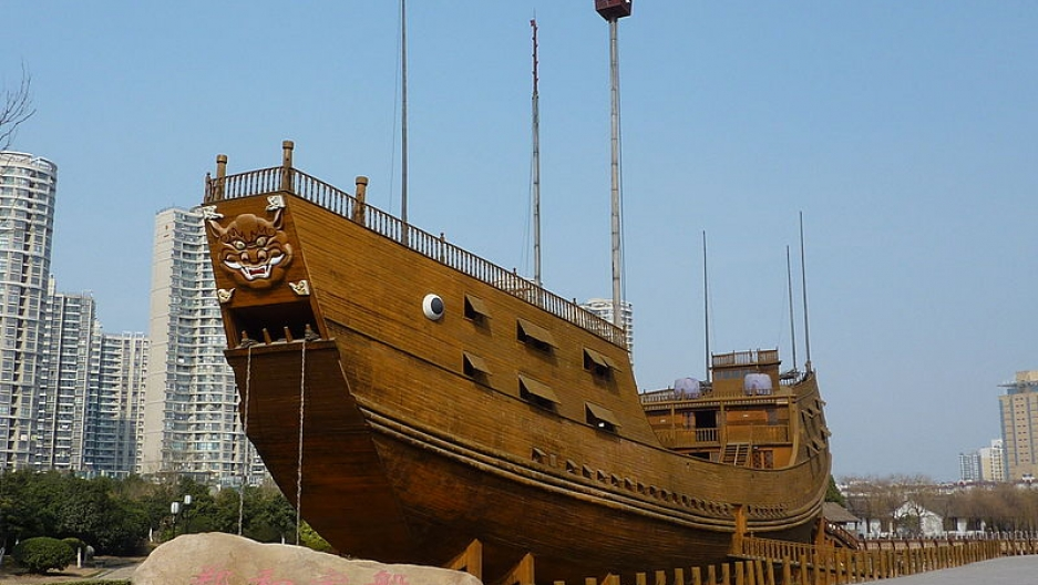 "A replica of a ""middle-sized treasure ship"" from the era of Admiral Zheng He, at the Treasure Boat Shipyard site in Nanjing."