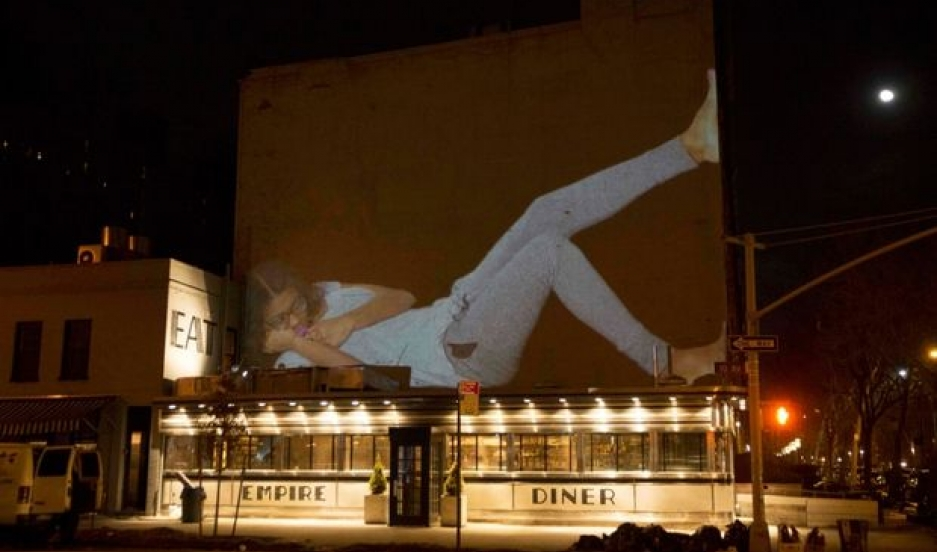 An image projected on a building as part of Projection Napping.