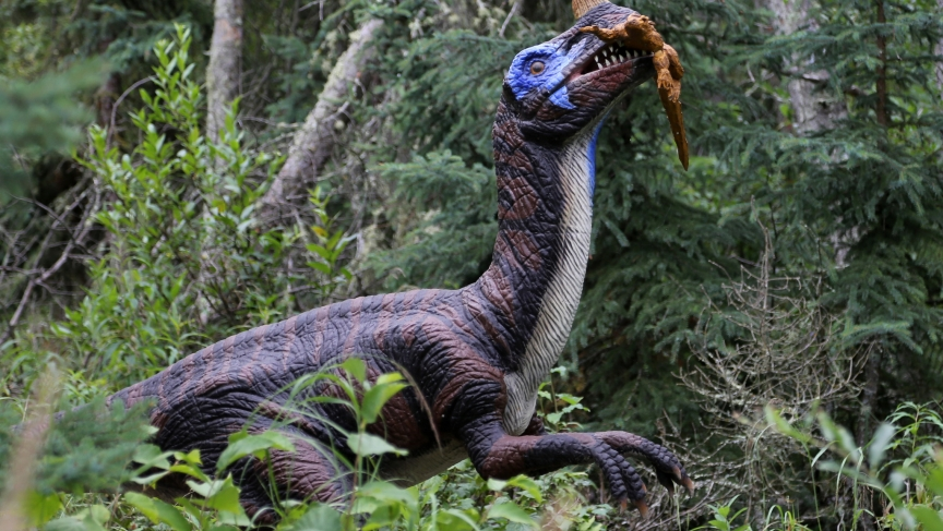 A dinosaur statue at the Jurassic Forest park in Alberta, Canada.