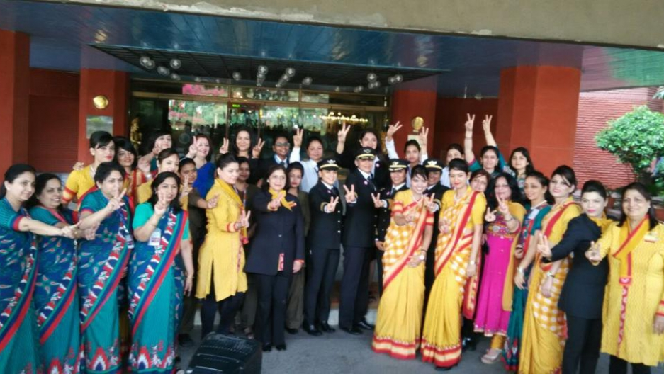 Air India's all women crew celebrating the proud moment before their longest flight, Delhi - San Francisco, take-off.