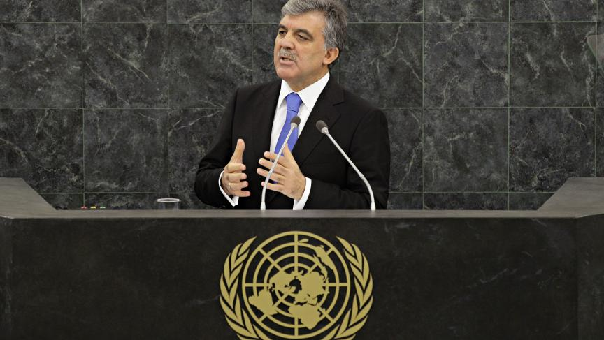 Turkish President Abdullah Gul addresses the 68th United Nations General Assembly in New York.