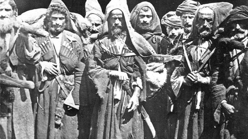"""Mountain people"" from the 1860s. These warriors held off the Russian empire for 47 years. Many were ethnically cleansed after the Russian conquest in 1864."