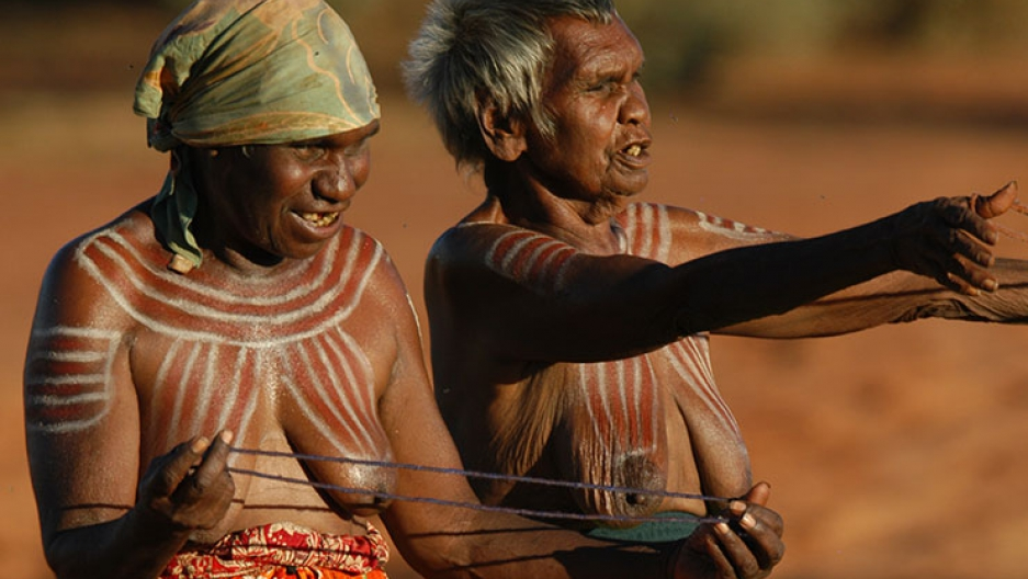 Aboriginal women from the remote Central Australian community of Ampilatwatja performing at a public ceremony in 2010 to protest against the Northern Territory intervention.