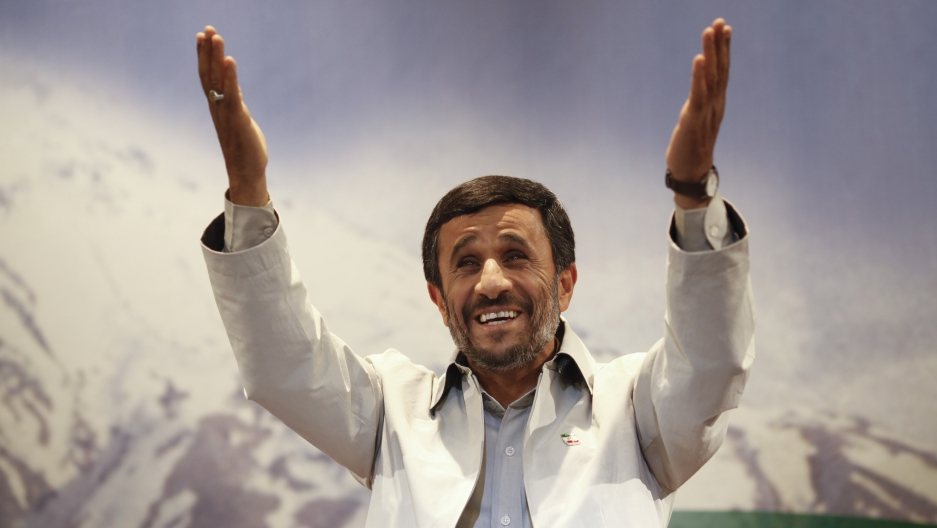 Iranian President Mahmoud Ahmadinejad attends his first news conference after Iran's presidential election in Tehran, on June 14, 2009.
