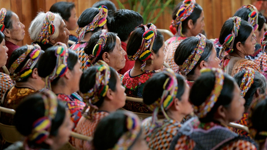 Women attend an evangelical church service in Almolonga, Guatemala.