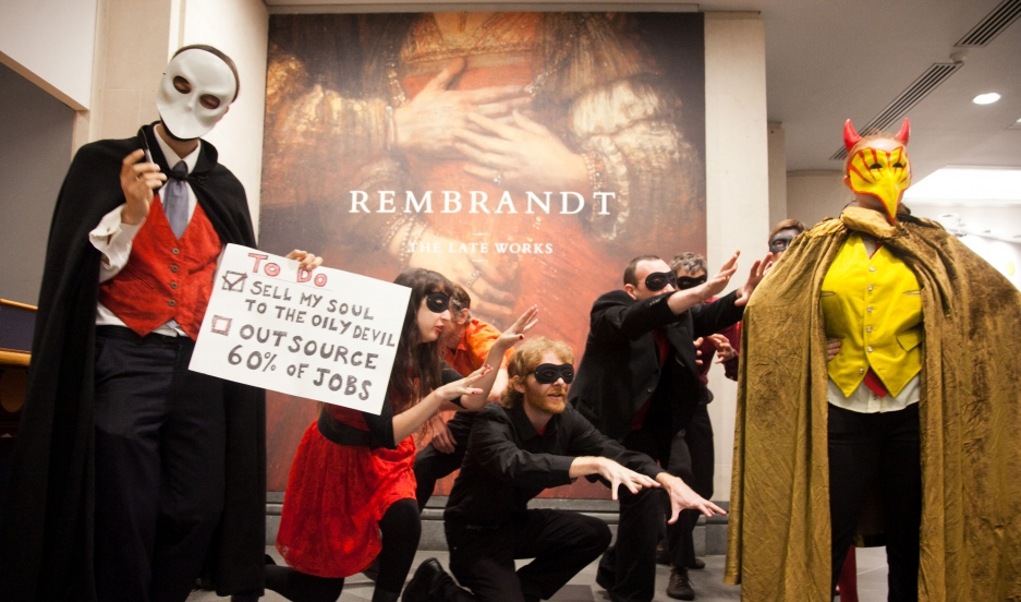 """Britain's National Gallerly sells its soul to the villainous """"Man from Shell"""" is this recent guerilla theater presentation by the activist group Art Not Oil. Fossil fuel industry support of cultural institutions has become increasingly controversial in th"""
