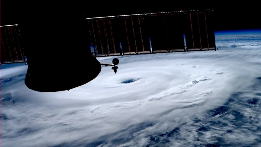 Astronaut Reid Wiseman's photo from the International Space Station of Hurricane Arthur.