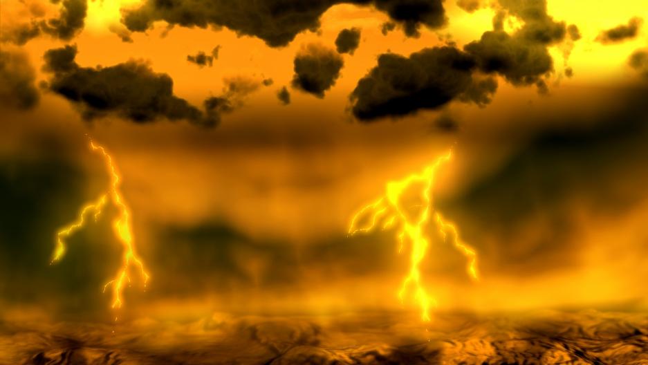 An artist's concept of lightning on Venus.