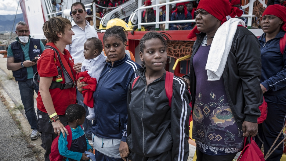 African migrants arriving in Italy from Mediterranean
