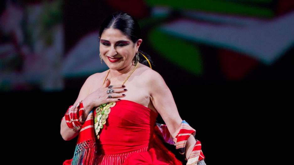 Mexican singer Astrid Hadad performing 2012.