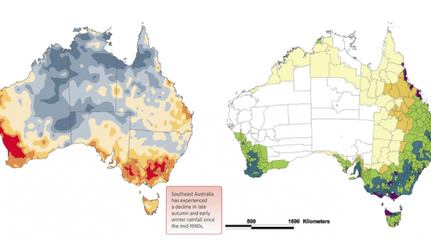 Southeastern and southwestern Australia have experienced some of the country's most severe rainy season droughts over the last two decades (L). These are also some of the country's most productive agricultural regions (R).
