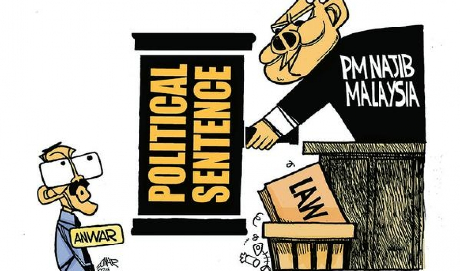 Malaysian cartoonist Zunar's last cartoon tweeted out before his arrest on February 10th in Kuala Lampur. The cartoon condemns Malaysia's judiciary for dismissing opposition leader Anwar Ibrahim's final appeal against a sodomy conviction and suggests Prim
