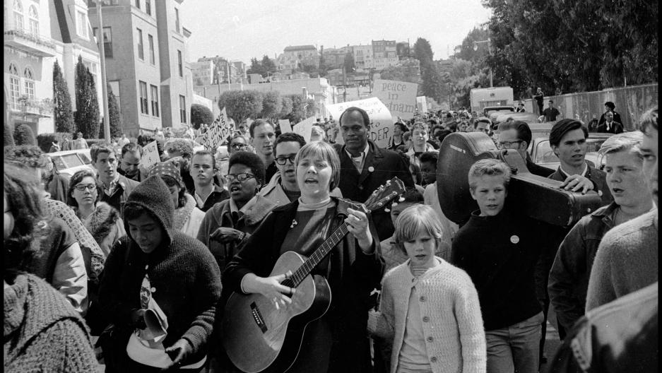 Barbara Dane singing at a protest in 1964.
