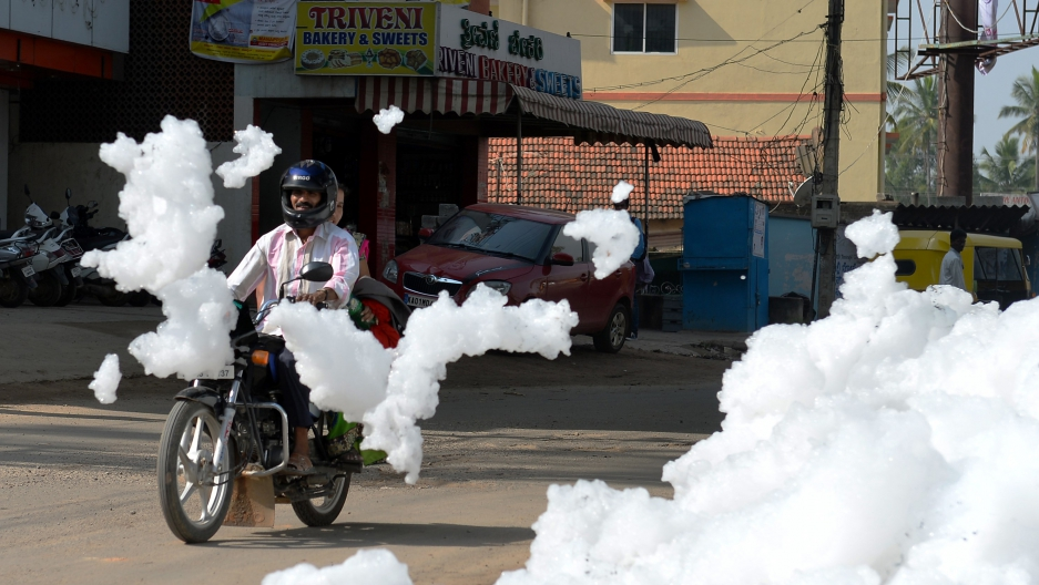 Toxic foam is a reality of life during the rainy season in parts of Bangalore, in eastern India. The foam froths up when rains churn up lakes laced with millions of gallons of residential and industrial pollutants, including phosphate laundry detergents b
